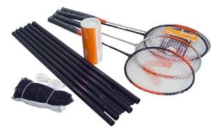 Kit Badminton 4 Raquetes + 3 Petecas De Nylon Vollo Vszr004