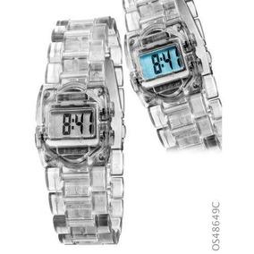 Relógio Feminino Digital Cosmos Os48649c - Transparente