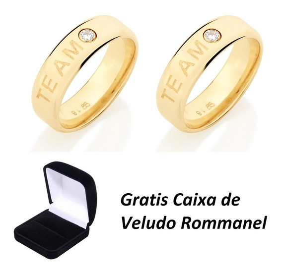 Aliança Folheada Ouro 24k Rommanel Te Amo C/ Garantia Eterna