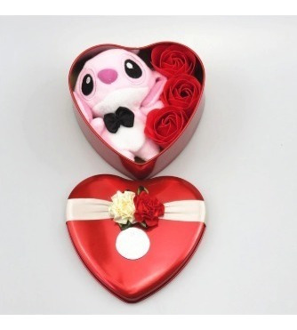 Pelucia Stitch Rosa Em Sabonete Caixinha Coração