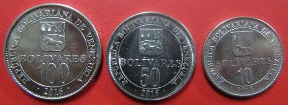 Venezuela Set De 3 Monedas Bolivar 2016 Unc