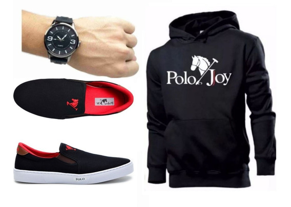 Tenis Masculino + Relógio + Moletom Polo Joy