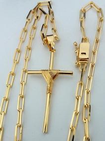Corrente Banhada A Ouro 18k Masculina 3,5mm + Cruz E Estojo