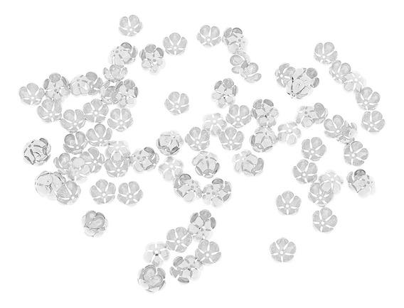 100pcs Plissadas Oco Flor Charms Fim Miçanga Caps Jeweley F