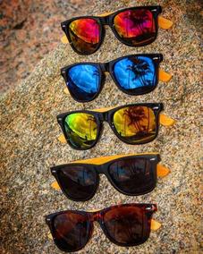 d670fd196 Óculos De Sol Modelo Wayfarer Haste Em Bambu E Uv400