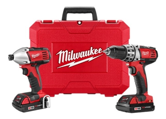 Combo Parafusadeira Impacto + Parafusadeira À Bateria 18v Com Duas Baterias E Carregador 220v Milwaukee 2691259