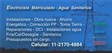 Electricista Matrículado - Agua - Reformas