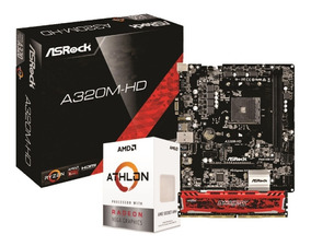 Kit Amd Athlon 200ge Asrock A320m Hd Crucial 4gb Bls