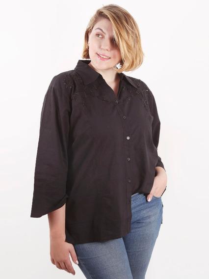 Camisa Blusa Mujer Talle Grande Especial Importada Plus Size Bordada Algodón, Manga 3/4 Tres Cuartos. #160414
