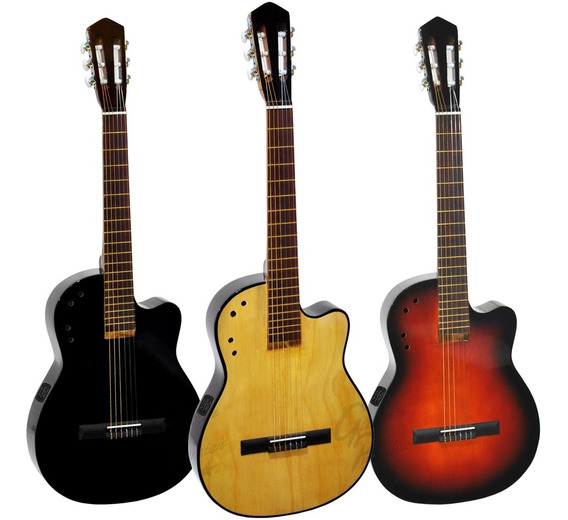 Guitarra Electroacustica Media Caja Corte Cuerdas Nylon Eq