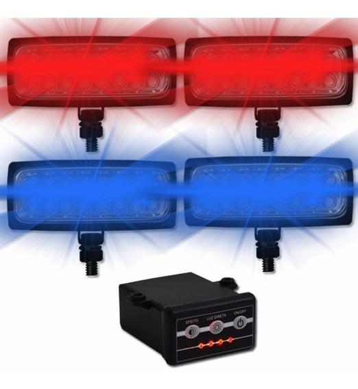 Estrobo Duplo Com 4 Faróis Led Azul E Vermelho 12v 6 Efeitos Carro Moto Polícia Bombeiro Emergência Ronda Patrulha Som