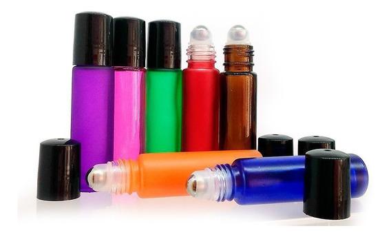 Roll On 10ml Vidrio 7 Colores T/ngr (pel. Metal) 10pz