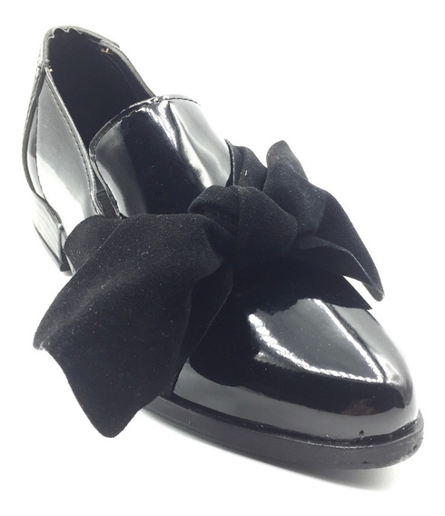 Zapatos Mocasín Mujer Charol Bajos Eco Cuero Moño Invierno