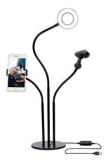Aro De Luz Led Con Base Soporte Para Celular Y Micrófono