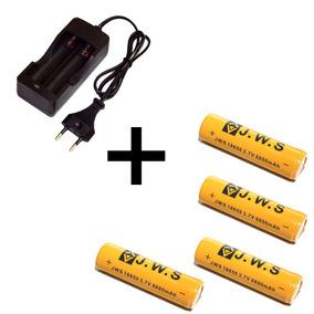 Kit Carregador Duplo + 04 Baterias Lítio 18650 3.7v 8800ma