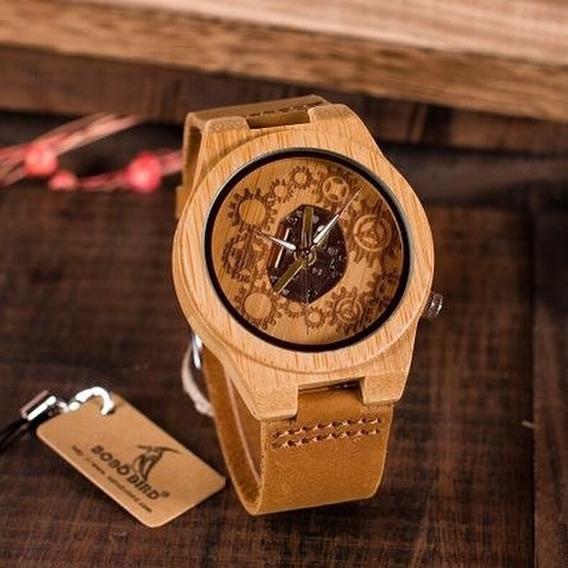 Relógio Madeira Bambu, Masculino, Enginer, Arvore