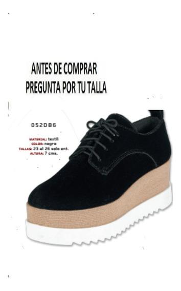 Zapatos 052db6 Agujetas Plataforma 7cm 23-26 Terciopelo