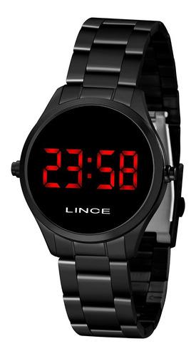 Imagem 1 de 10 de Relógio Lince Mdn4618l Vxpx Digital Preto Acende Vermelho