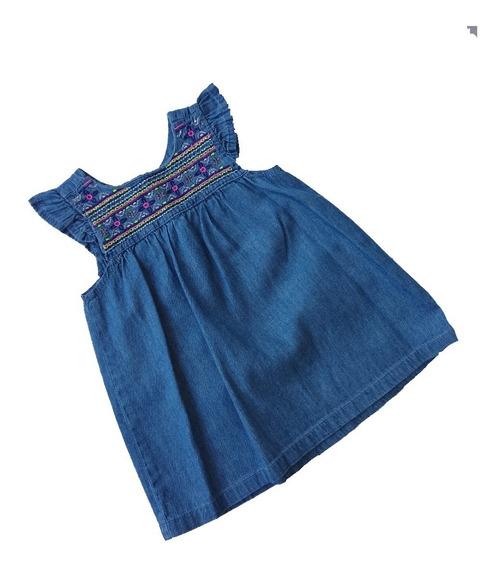 Vestido Bebé Bordado, Mezclilla 100% Algodón
