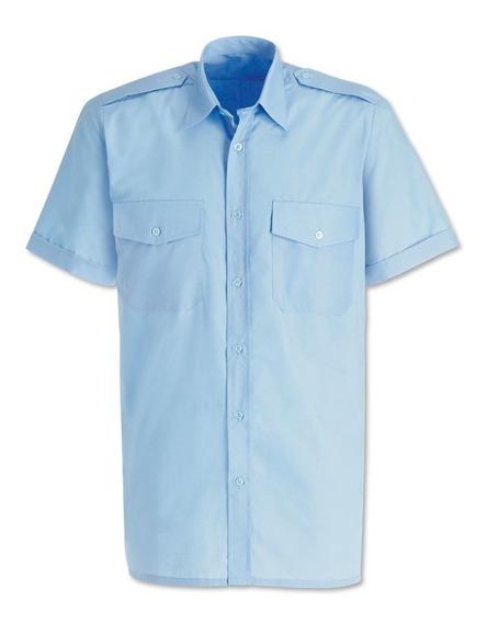 Camisa Social Para Motorista Microfibra Azul Claro