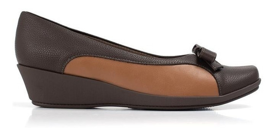 Sapato Anabela Bicolor Com Laço Frontal 144052 Piccadilly
