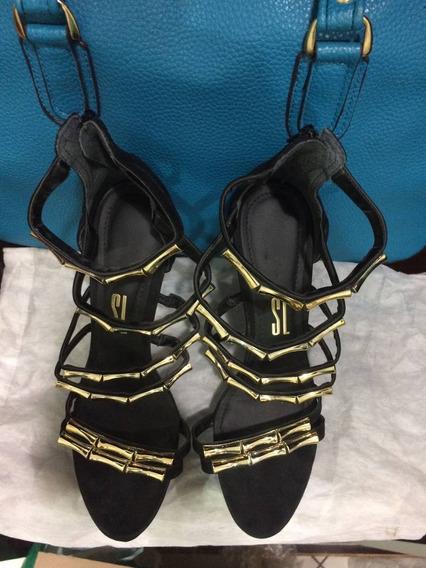 Sandália Preta Com Dourada Santa Lolla Original