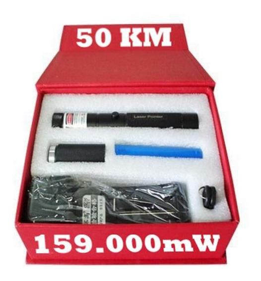 Laser Pointer 159.000mw 50 Km Acende Fósforo Chave Seg Verde