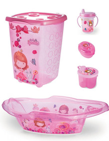 Cesto + Banheira+ Dosador+copo+saboneteira Infantil Princesa