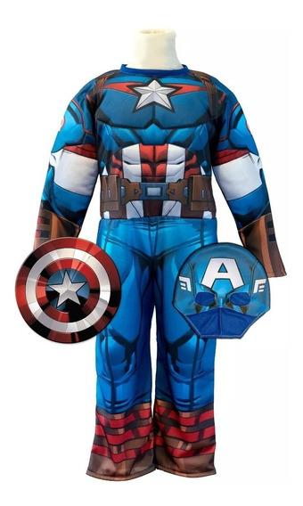 Disfraz De Capitan America Con Musculos Original New Toys