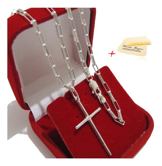 Corrente Cordão De Prata Cadeado Pingente Cruz Palito 70cm