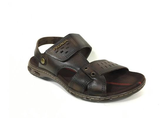 Sandalia Masculina Couro Confortavel Velcro Pegada 130653