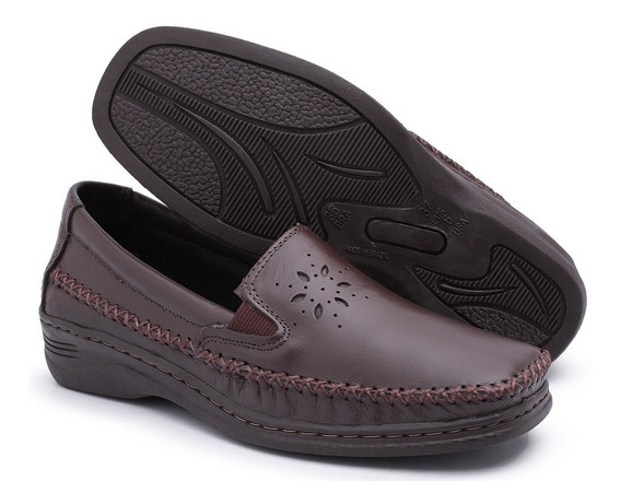 Sapato Feminino Couro Branco Alpargatas Anabela P/ Senhoras