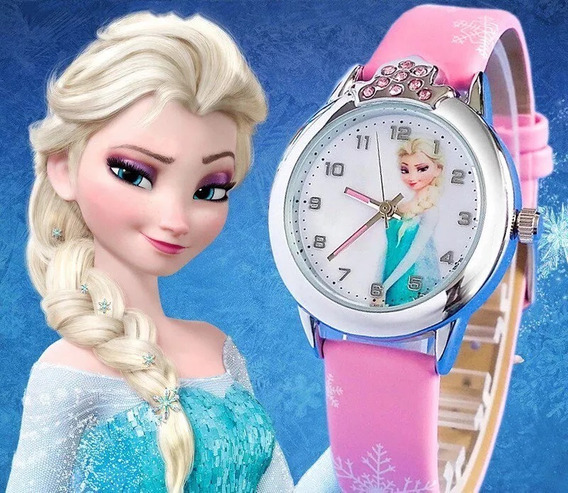 Relógio Infantil Menina Elsa Frozen Disney Rosa Strass Festa