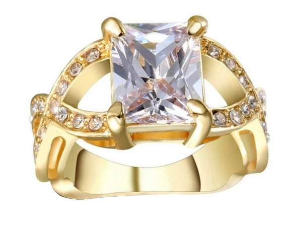 Anel Feminino Cristal Quartzo Branco Banho Ouro 572 P