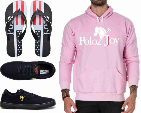Tenis Masculino + Chinelo + Moletom Promoção Polo Joy Top