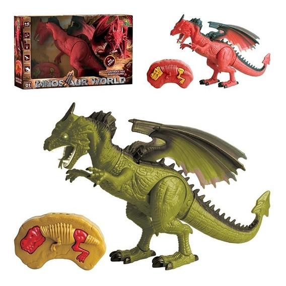 Dinossauro Robo Controle Remoto Articulado Luz E Som Dragao