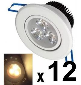 12 Spot Led Branco Luz Quente Direcionável 3w Sanca Gesso