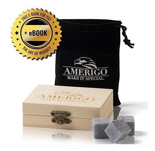 Juego De Regalo Amerigo Premium Whiskey Stones Con Agua Abaj
