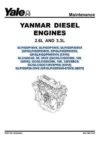 Manual Motor Diesel Yanmar 2.6 3.0 Empilhadeira Yale 96pg
