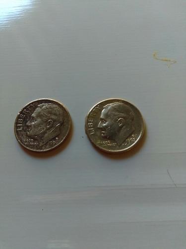 Dos Monedas Dime De Los Estados Unidos Con Errores