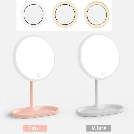Espelho De Mesa Maquiagem Luz Led Touch 3 Niveis C/ Suporte