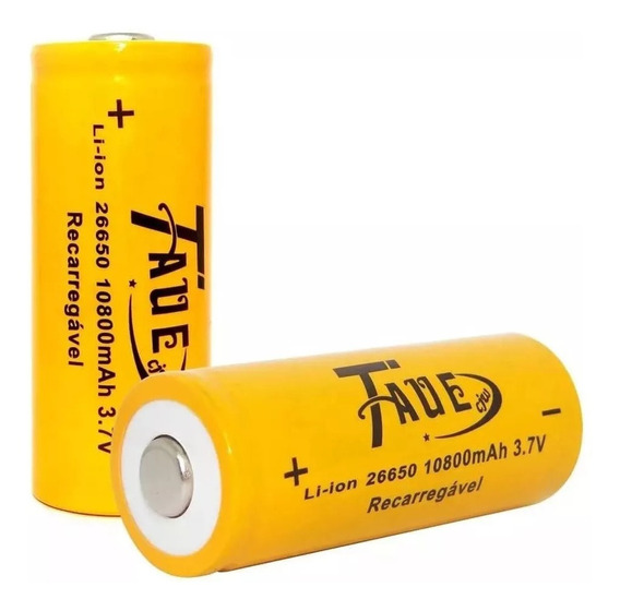 Kit 2 Bateria Recarregavel 26650 10800mah 3.7v Li-ion