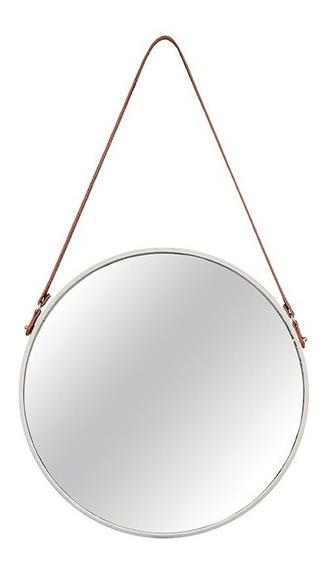 Espelho De Parede Off White Em Metal Com Alça De Couro
