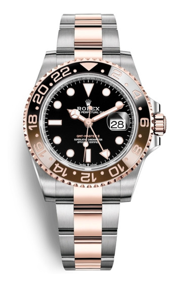 Relógio Masculino Suíço Gmt Master 2 Ouro Rose