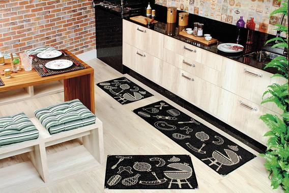 Jogo De Tapete Antiderrapante Sisal Cozinha 3 Peças - Ks60