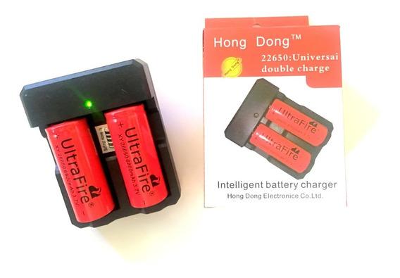 Kit 1 Carregador Duplo +2 Bateria 26650 6800mah3,7v Original