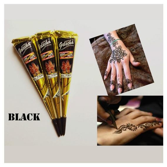 6 Tintas De Henna Preta + Aplicador + 8 Bicos, Tatuagem