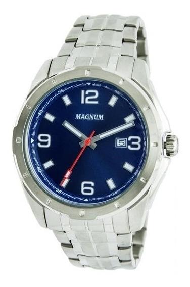 Relógio Magnum Masculino Ref: Ma32809f Casual Prateado
