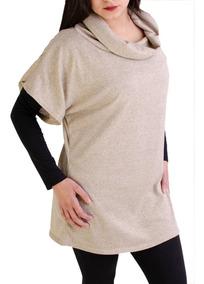 6 Chaleco Vestido Remeron Cuello Volcado De Lanilla
