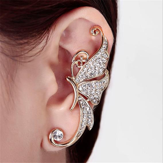 Lindo Brinco Ear Cuff Borboleta Dourado Strass Unidade